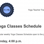 Regular weekly Yoga Classes Schedule