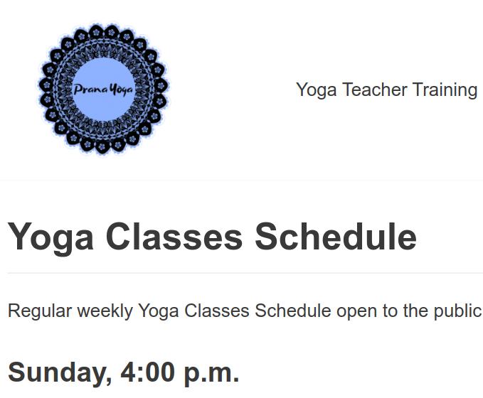 Regular weekly Yoga Classes Schedule